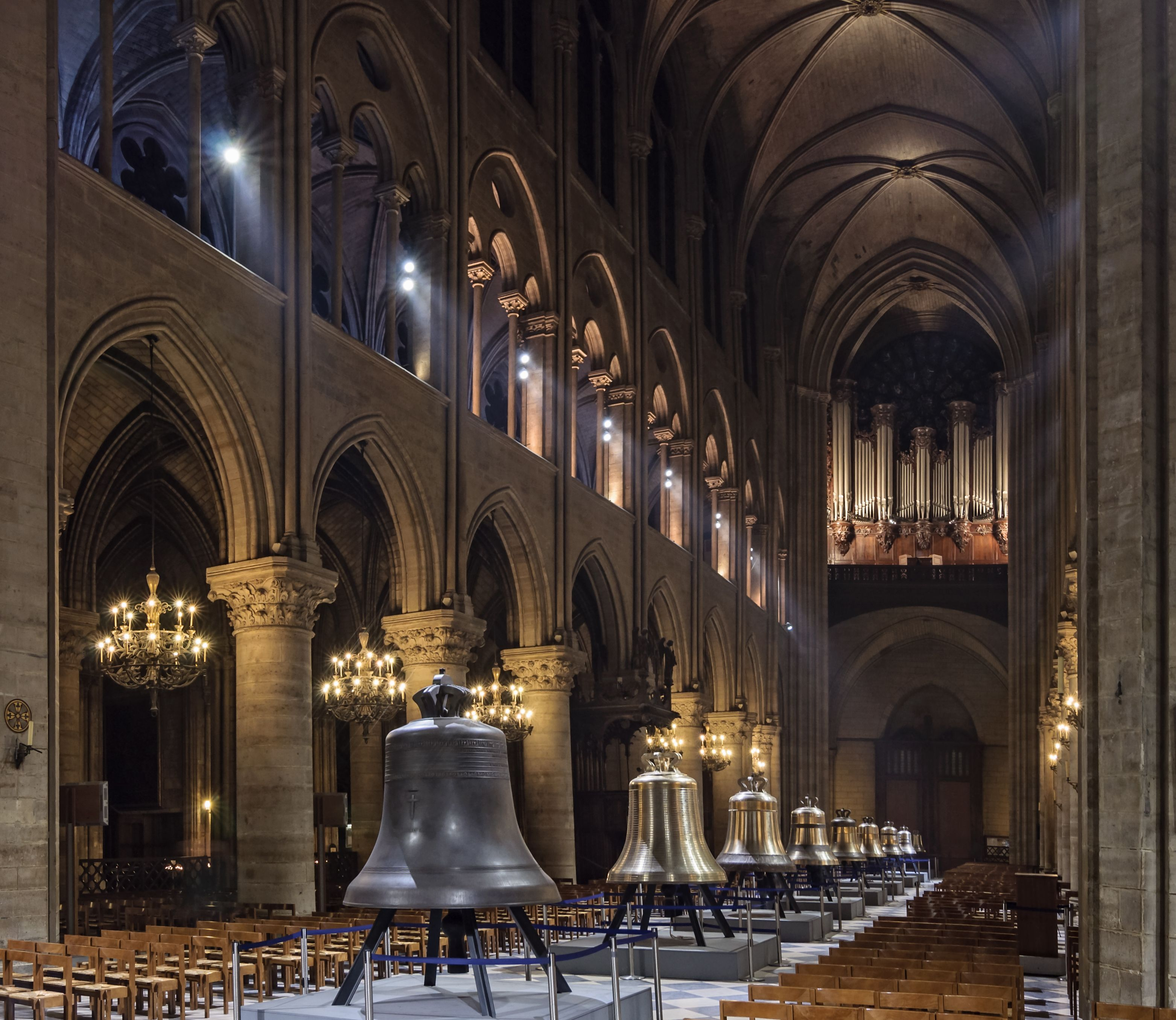 The new bells of Notre-Dame de Paris Cathedral on public display ...
