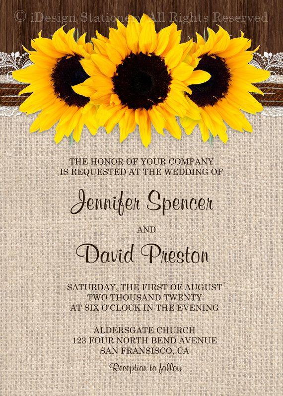 DIY Printable Sunflower Wedding Invitation by
