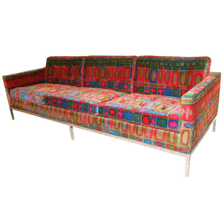 sofa by florence knoll with original jack lenor larsen. Black Bedroom Furniture Sets. Home Design Ideas