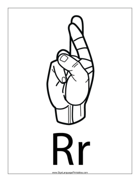 This Printable Features An Outline Of A Sign Language Letter R With Label Free To Download And Print