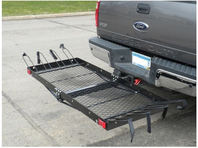 Cargo Carrier And 4 Bikes Rack With Tie Down Straps 500lbs Tow Hitch Connection 4 Bike Rack Diy Bike Rack Hitch Cargo