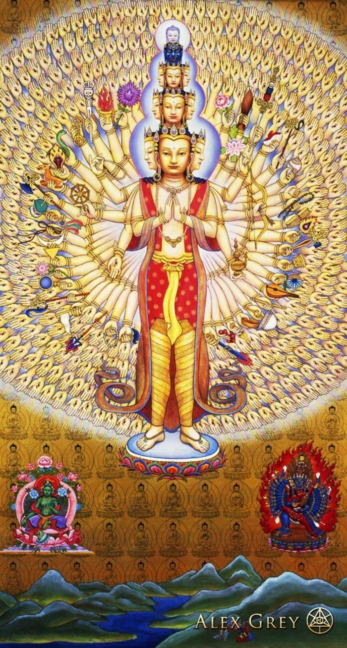 """Avalokitesvara"" (Lord of this World) by Alex Grey. http://en.wikipedia.org/wiki/Avalokite%C5%9Bvara http://alexgrey.com/"