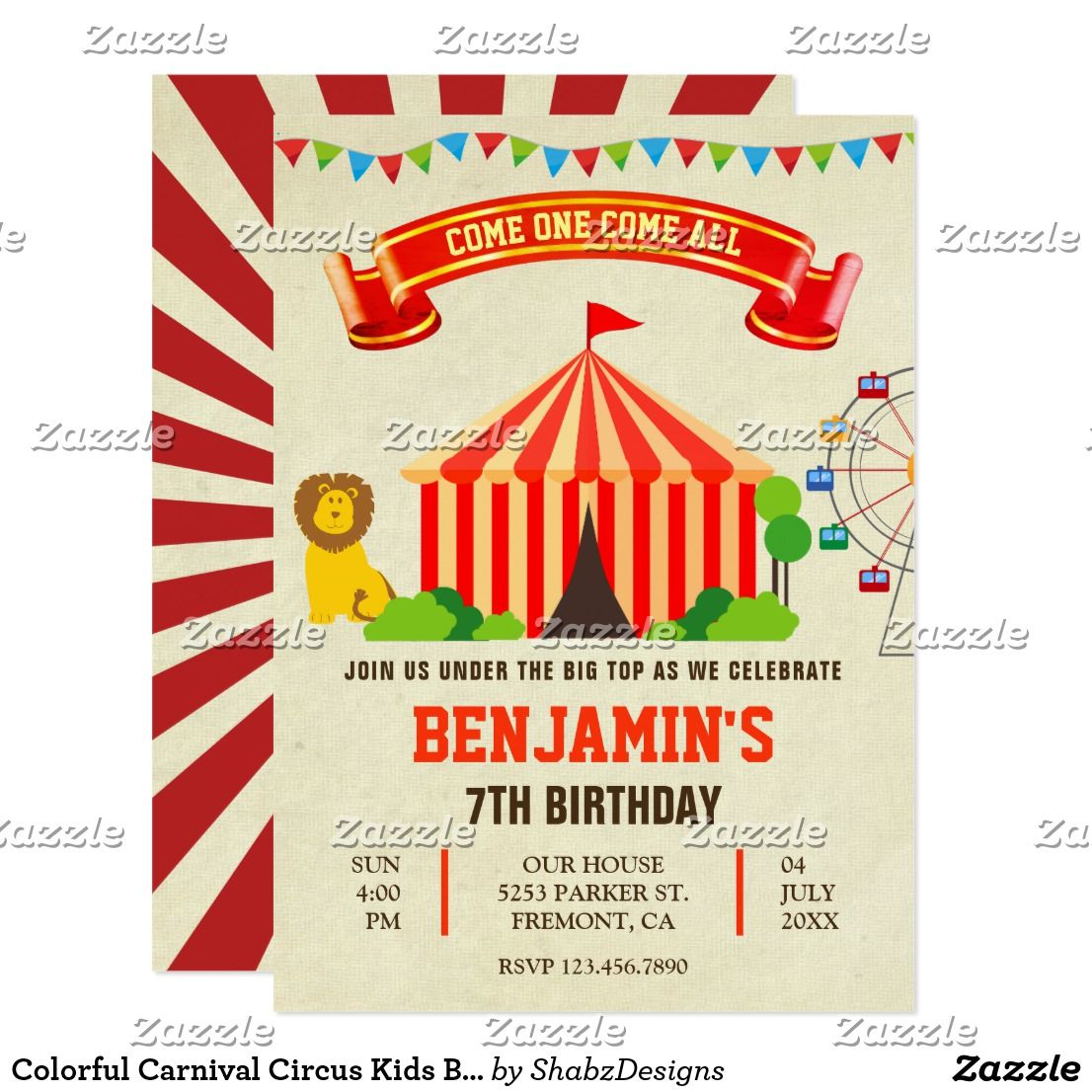Colorful Carnival Circus Kids Birthday Invitation Amaze your guests ...