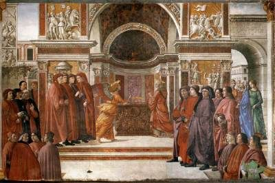 """GHIRLANDAIO, Domenico Angel Appearing to Zacharias  1486-90 Fresco, width 450 cm Cappella Tornabuoni, Santa Maria Novella, Florence  The first scene of the stories of St John the Baptist, the Angel Appearing to Zacharias is represented at the bottom on the right wall.  Vasari wrote: """"Domenico introduced a goodly number of Florentine citizens, who were then members of the Government, and especially all the members of the Tornabuoni family""""."""