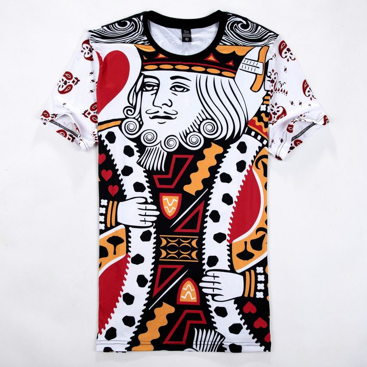 newest funny 3d t shirt Playing CARDS diamond K /spade Q graphic tees poker  face