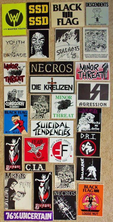 Old 80s hardcore punk band stickers