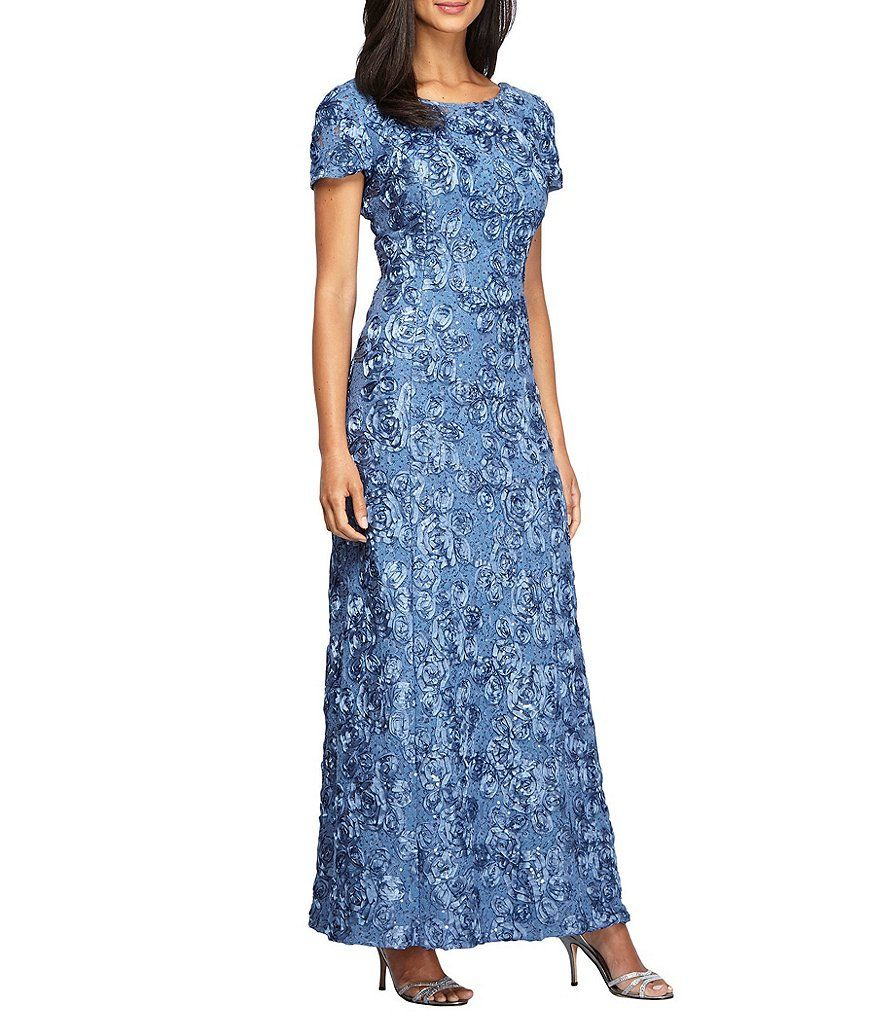 Alex Evenings Sequined-Lace Rosette-Rose Gown | Pinterest | Alex ...
