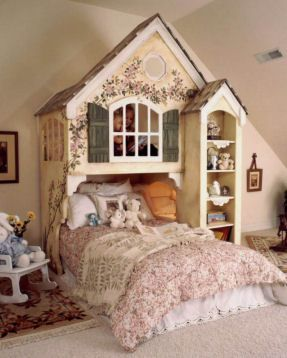 this is an INSANE bed for a little girl...much as I love it, wouldn't she bonk her head when she sat up? I like the idea of a cubby bed, though, for a daughter....