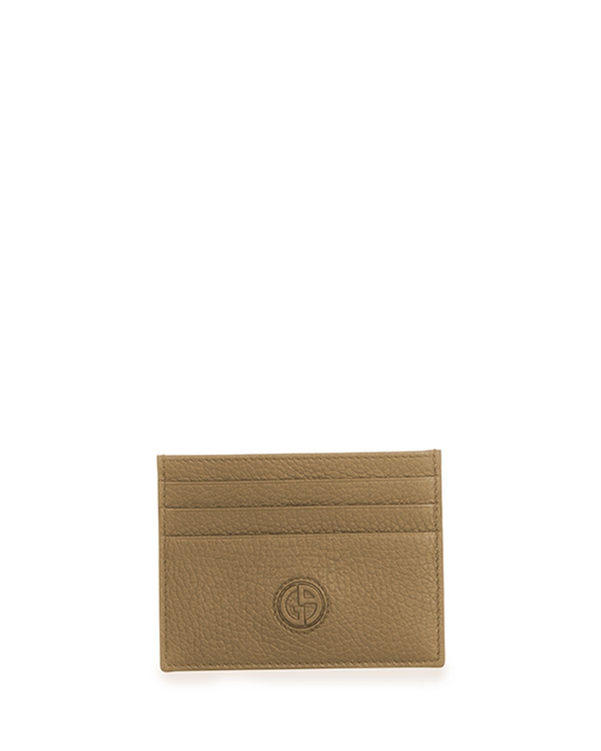 Textured Leather Card Holder Brown Giorgio Armani Card Case And