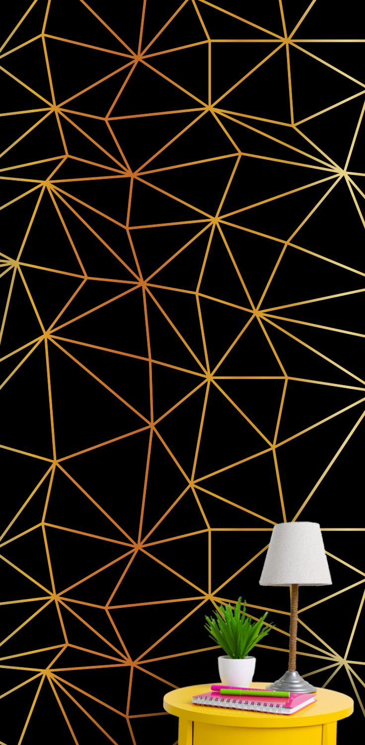 Gold triangle wire frame geometric man cave wallpaper