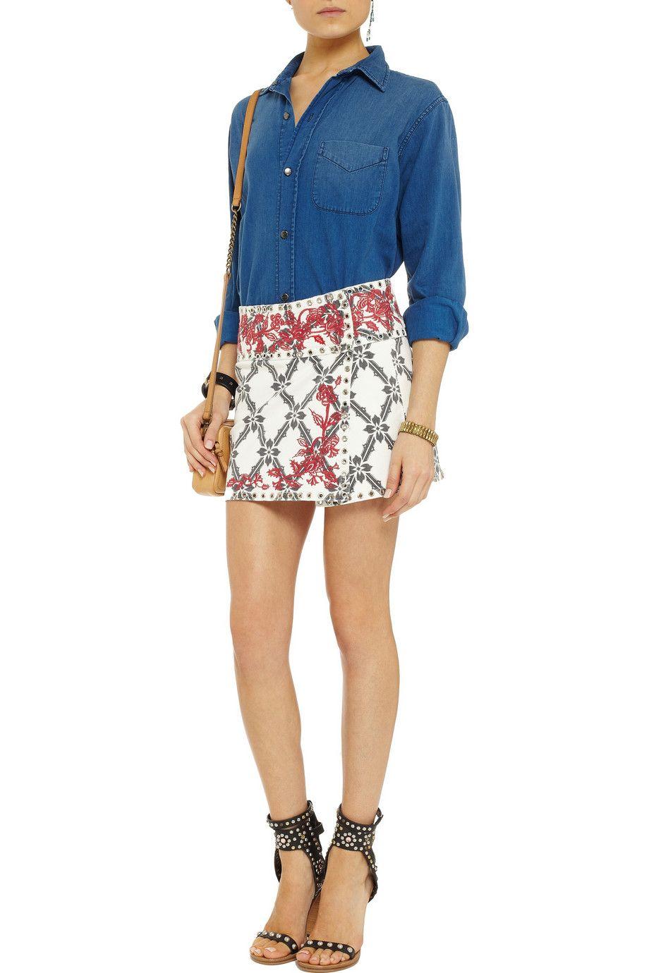 Isabel MarantGelicia embroidered denim mini skirtfront