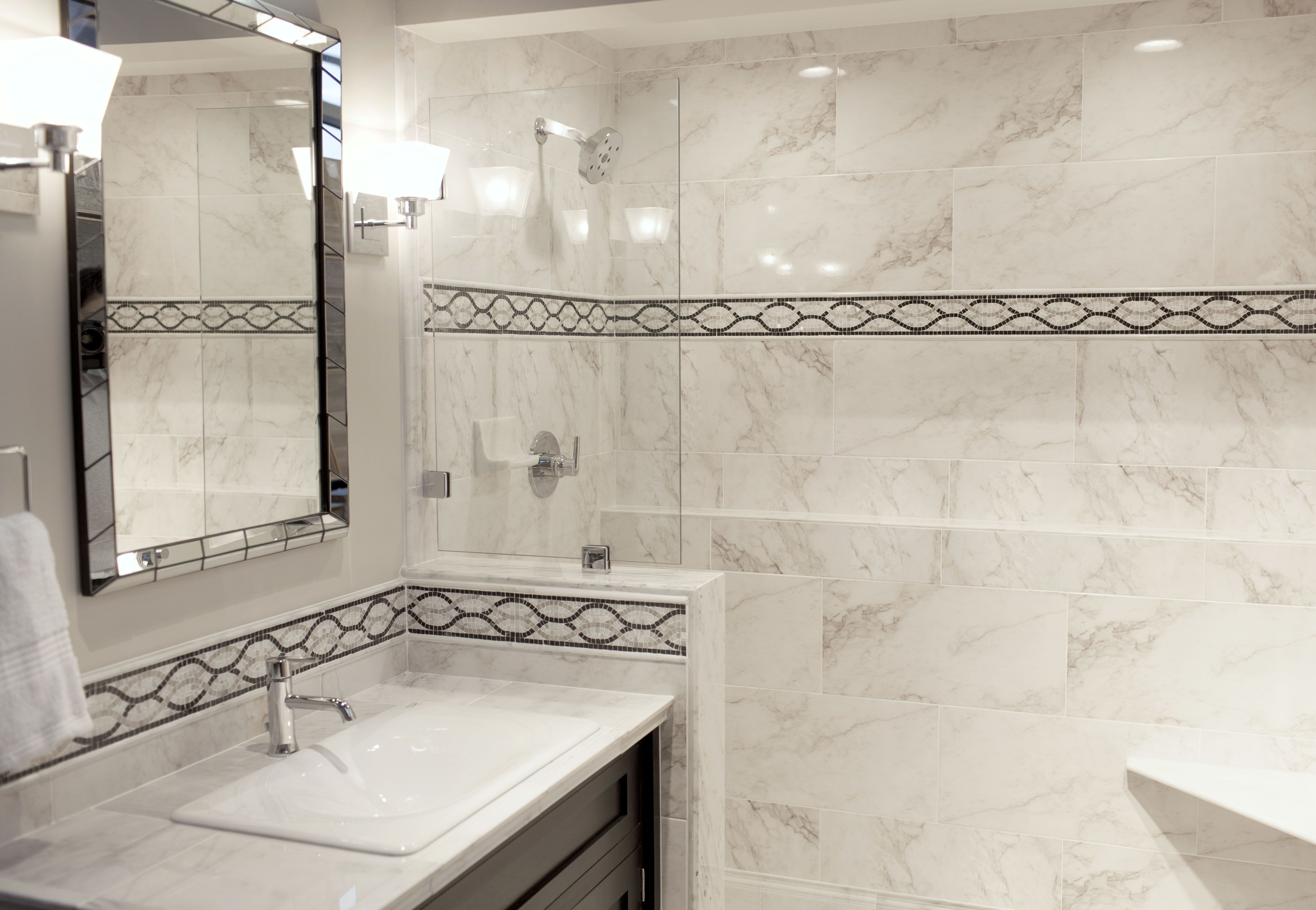 Get the look for less! Use a decorative border with a marble-like ...