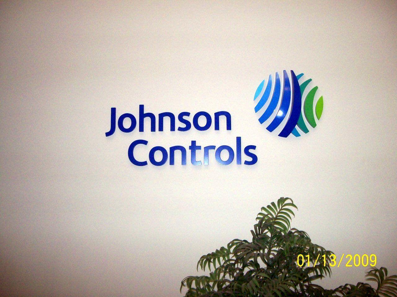 Johnson Controls corporate identity reception sign