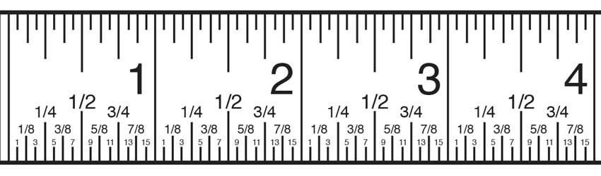 Inch Fractions On A Tape Measure Are Distinguished By The Size Of The Tick Mark Ruler Measurements Tape Reading Reading A Ruler