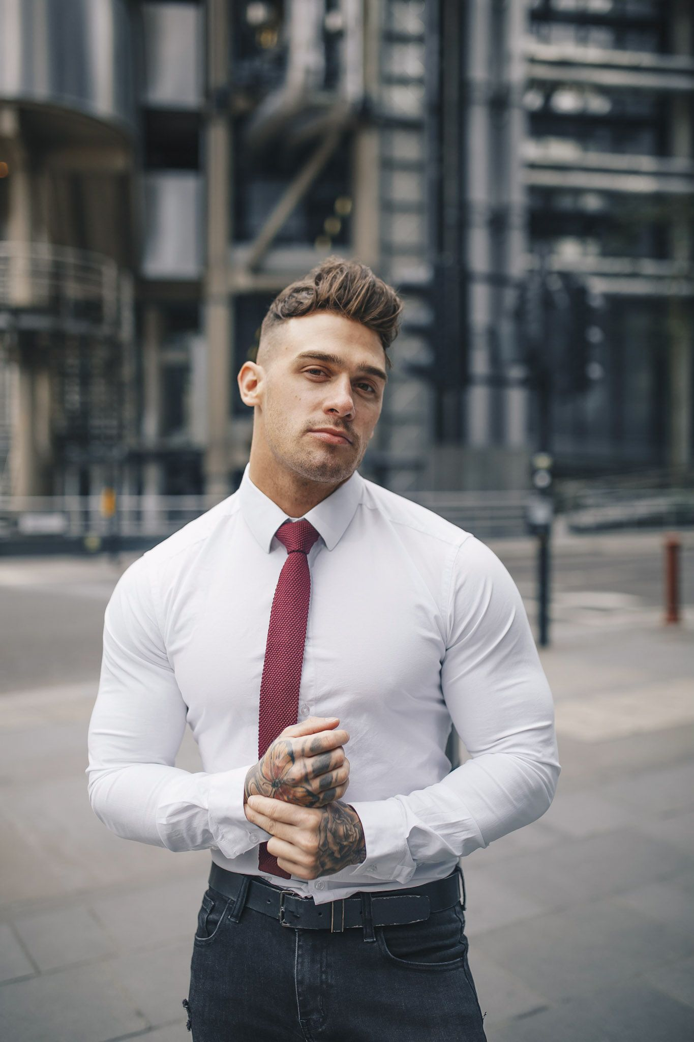 White Tapered Fit Shirt Stylish Men Mens Outfits Mens Pants