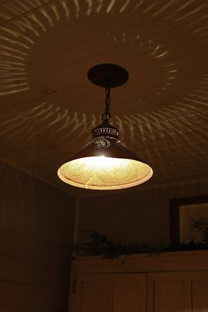 Punched tin ceiling light fixture | charm of the farm | Pinterest ...