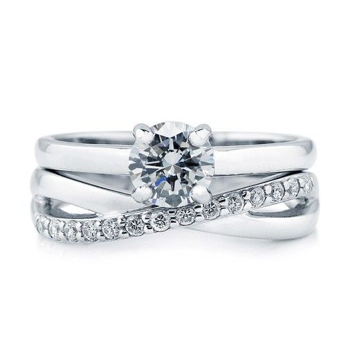 Sterling Silver CZ Solitaire Infinity Ring Set 105 CTW Rounding