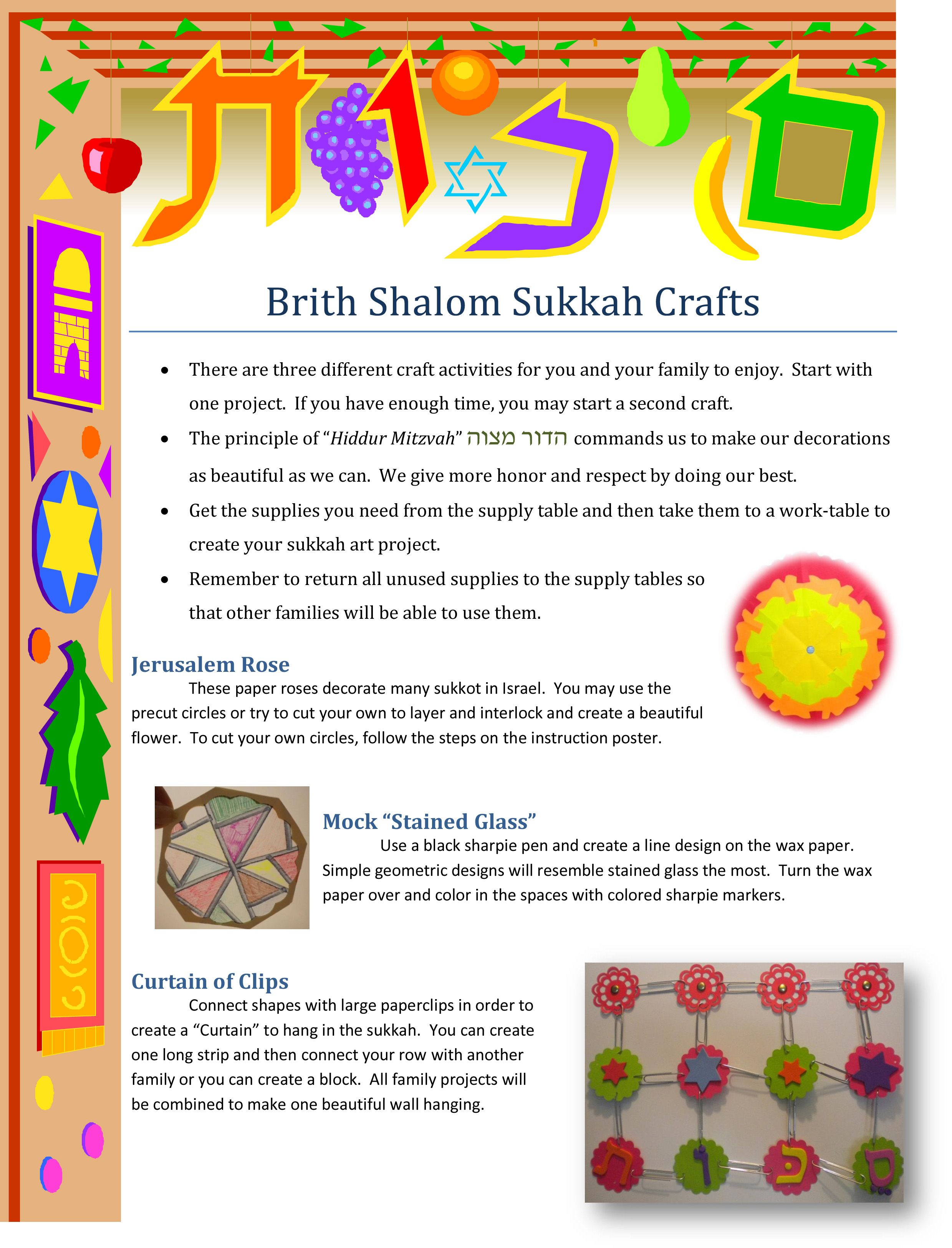 Sukkah Crafts Family Education Activitiy Education Ideas