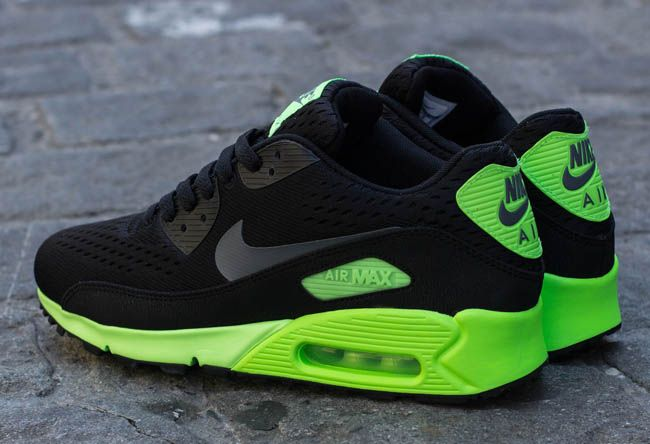 nike air max 90 black and neon green sneakers