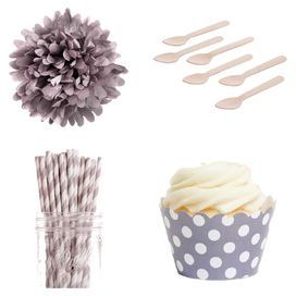 Emma Dessert Table Party Kit in Grey