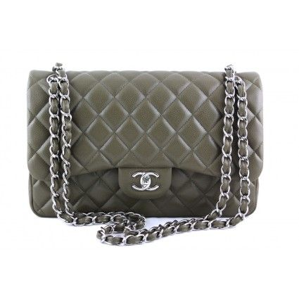 83344695a8b0 Chanel Olive Green Caviar Jumbo 2.55 Classic Double Flap Bag ...