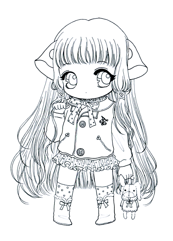 chibi chii lineart by tho bedeviantartcom coloring sheetscoloring