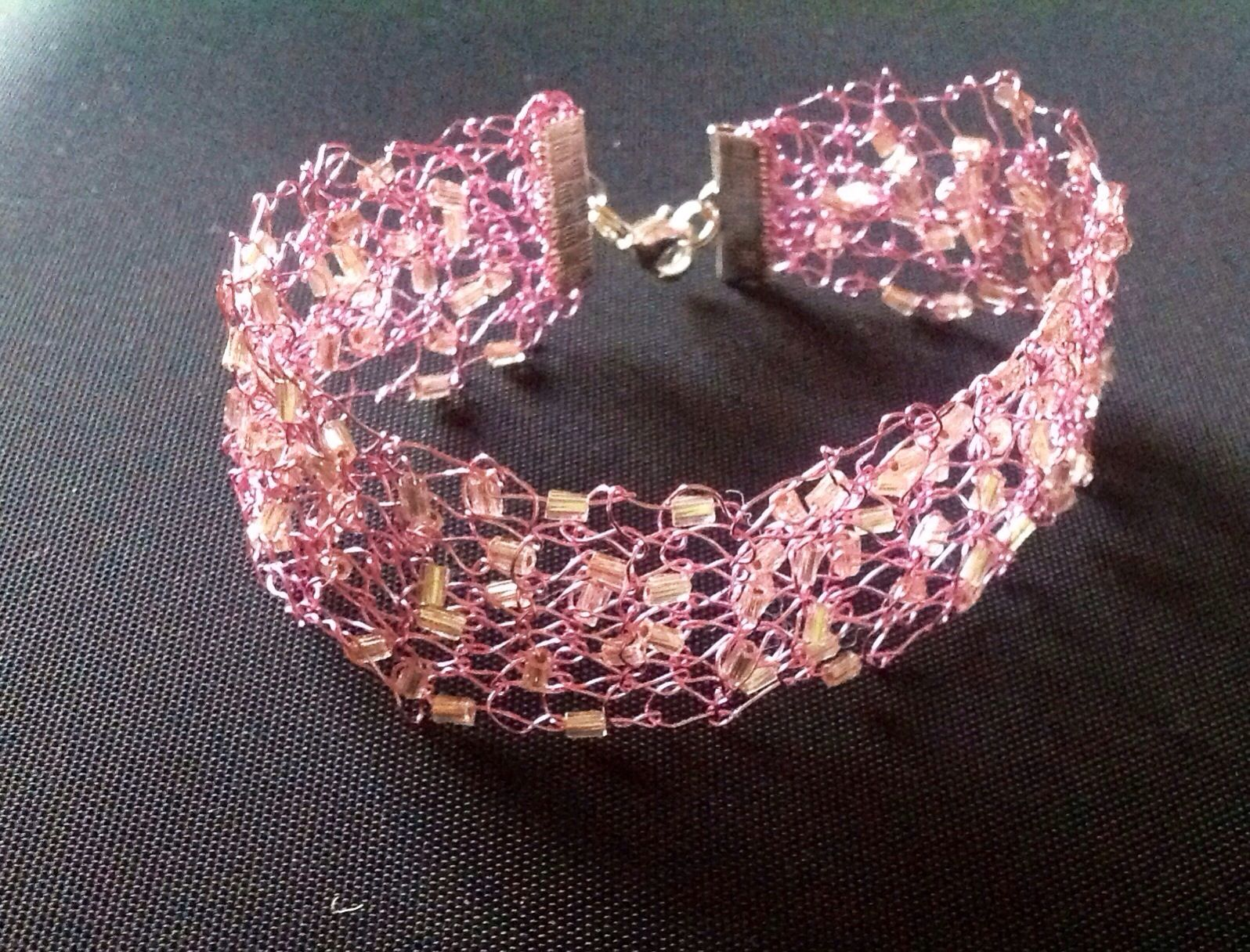 Knitted wire and bead bracelet   Hand knitted by Jacquie Curran
