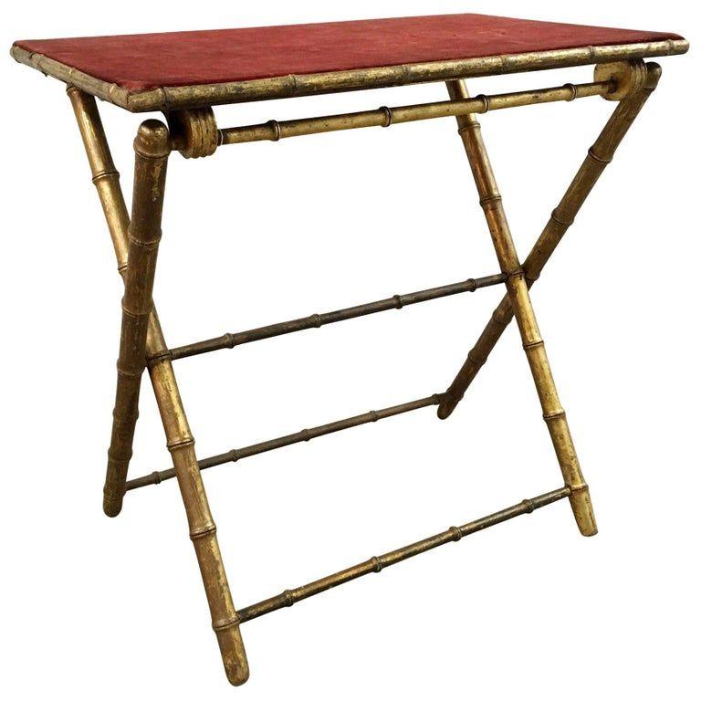 1stdibs Card Table Tea Table Faux Bamboo Gilt Velvet Folding