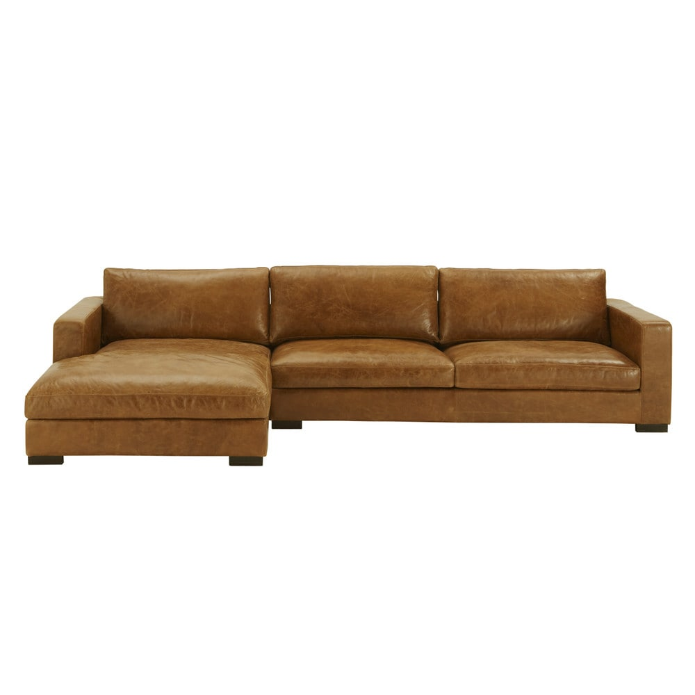 Divani Angolari Maison Du Monde.5 Seater Vintage Leather Corner Sofa Camel Rooms Pinterest