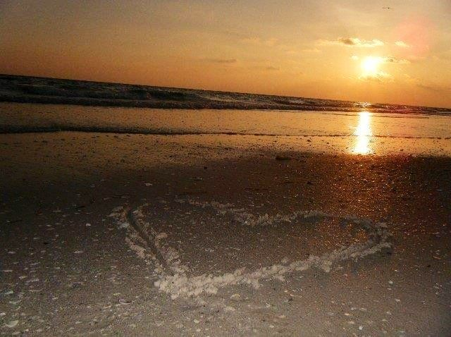 Beach sunset with heart in the sand | Beach Life | Pinterest