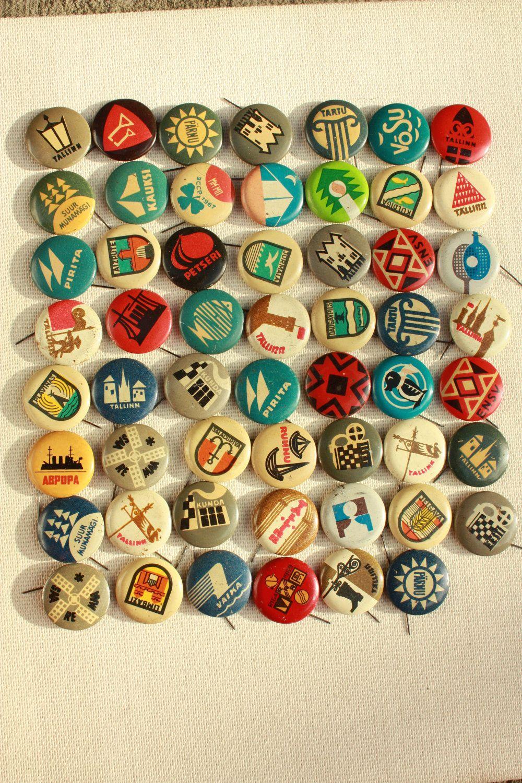 55 Vintage USSR pins - Button - Pinback - Badge. $30.00, via Etsy.