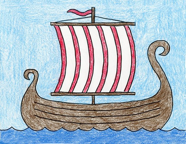How To Draw A Viking Ship With Images Kids Art Projects