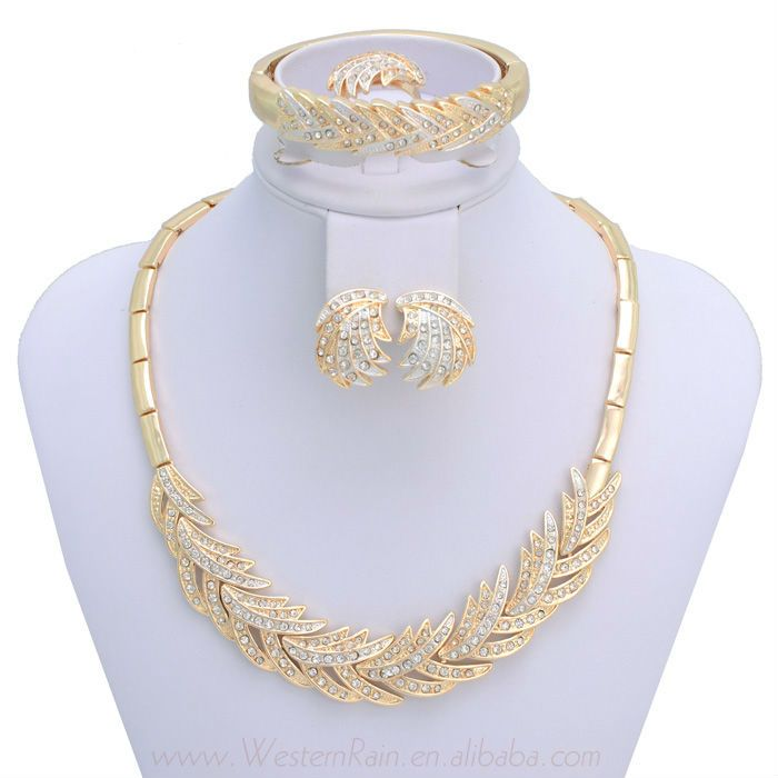 18K Gold Plated Necklace&Bangle& Adjustable Ring&Stud Earrings ...