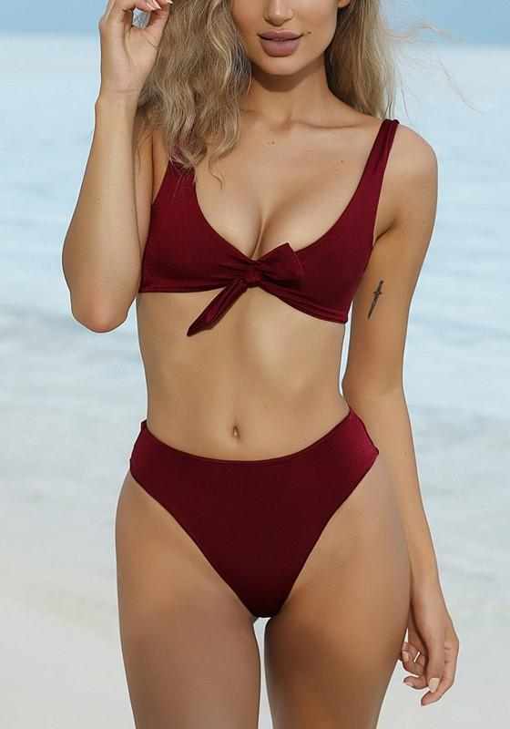 11d267a99d Burgundy Backless Lace-up Two Piece Round Neck Bikini Swimwear ...