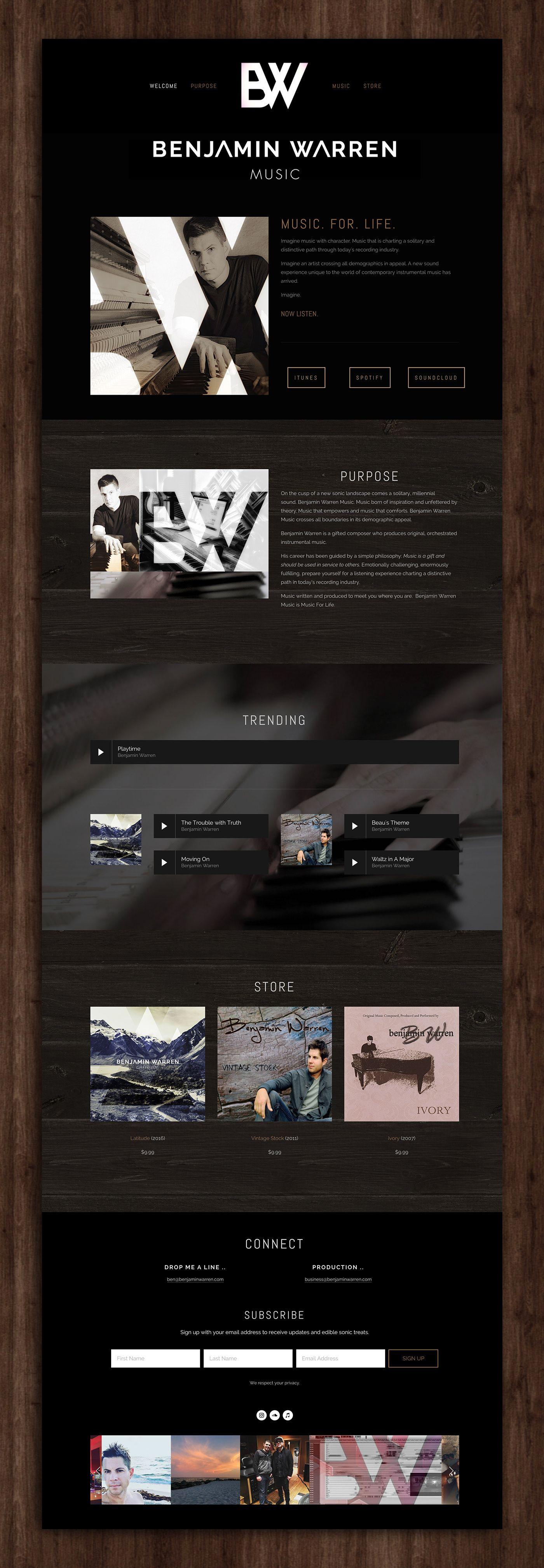 Benjamin Warren Music On Behance Website Design For Musician Musician Website Website Design Web Design Inspiration