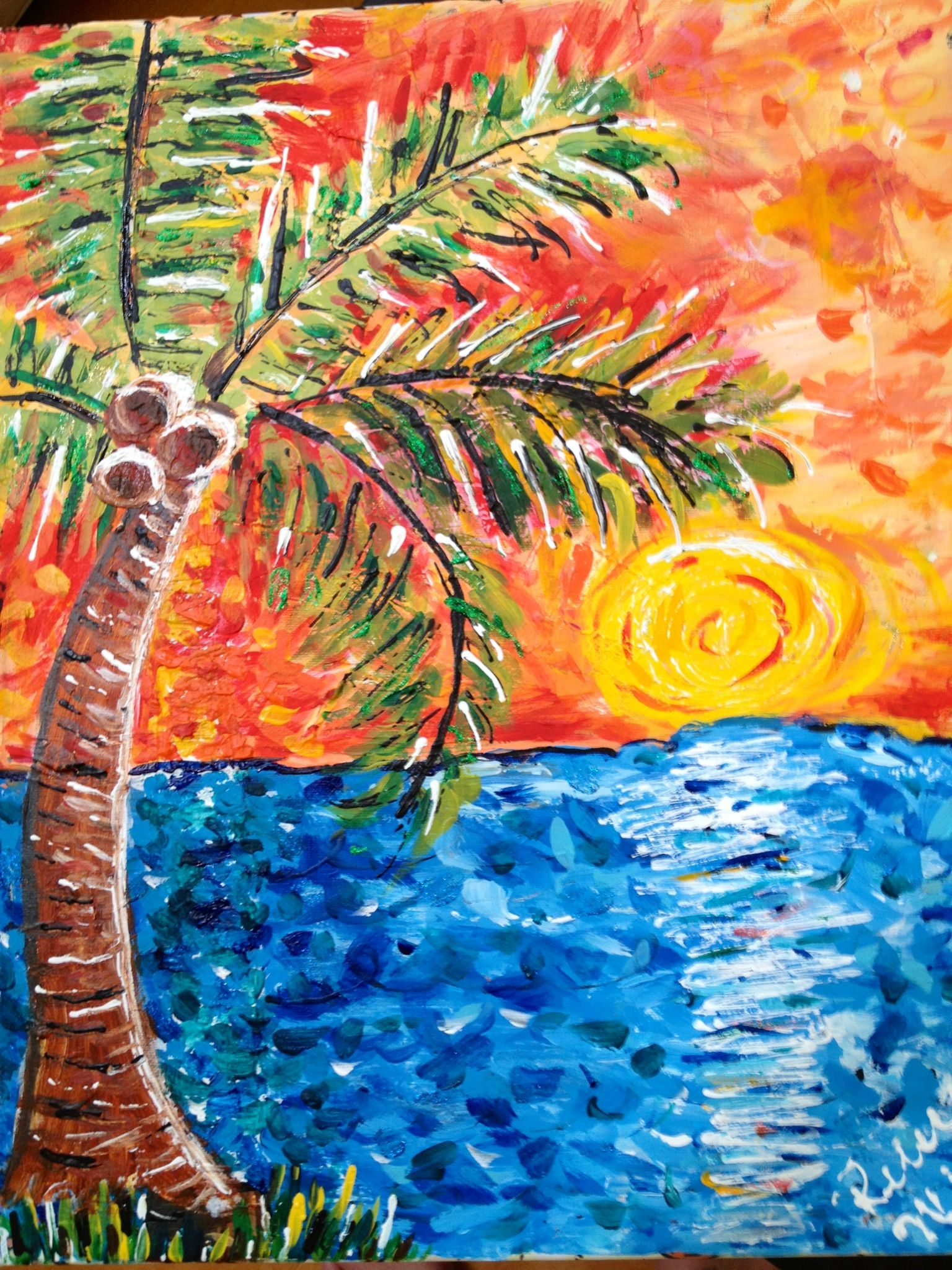 Sunset Palm Tree Painting 16x20 75 Original Mixed Media