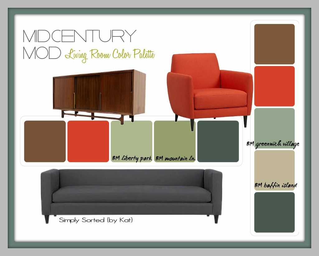 A Nice Mid Century Color Pallet That Will Give A Chance At Pulling In A Hint Of R Modern Living Room Colors Mid Century Modern Colors Color Palette Living Room