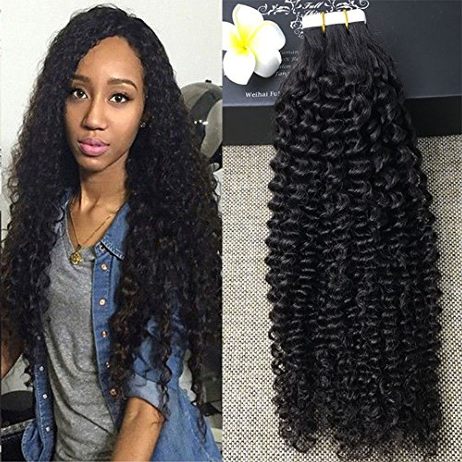 Full Shine 14 Inch 50gram 20 Pcs Per Package Natural Color Tape In Curly Hair Extensions Human Hair Remy Hair Extensions Best Tape In Hair Extensions Hair Tape