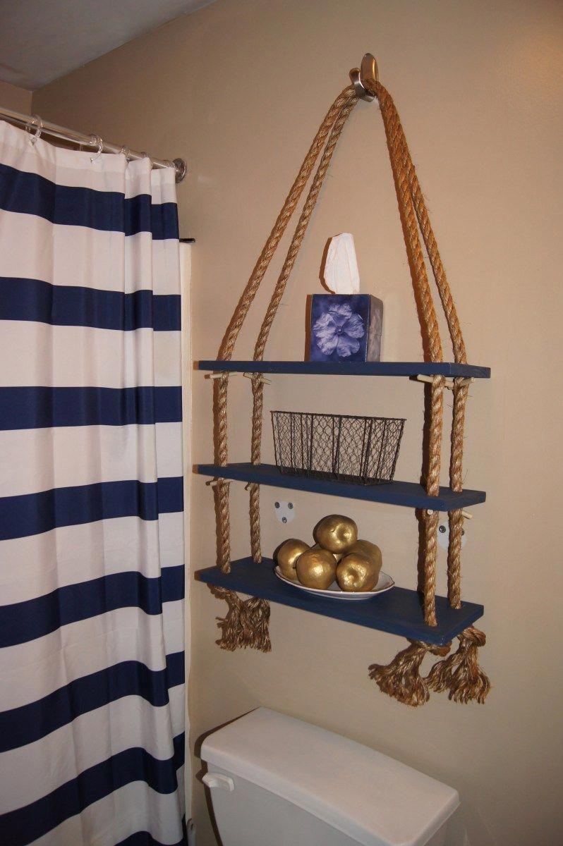 Apartment Decor Diy Nautical Rope Shelf Beachhousedecor Nautical Bathroom Decor Diy Apartment Decor Anchor Bathroom Ideas Lake themed bathroom decor