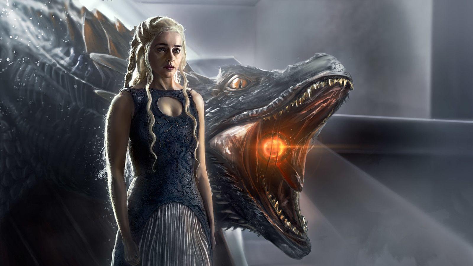 обои на рабочий стол дейнерис с драконами два пути позвать