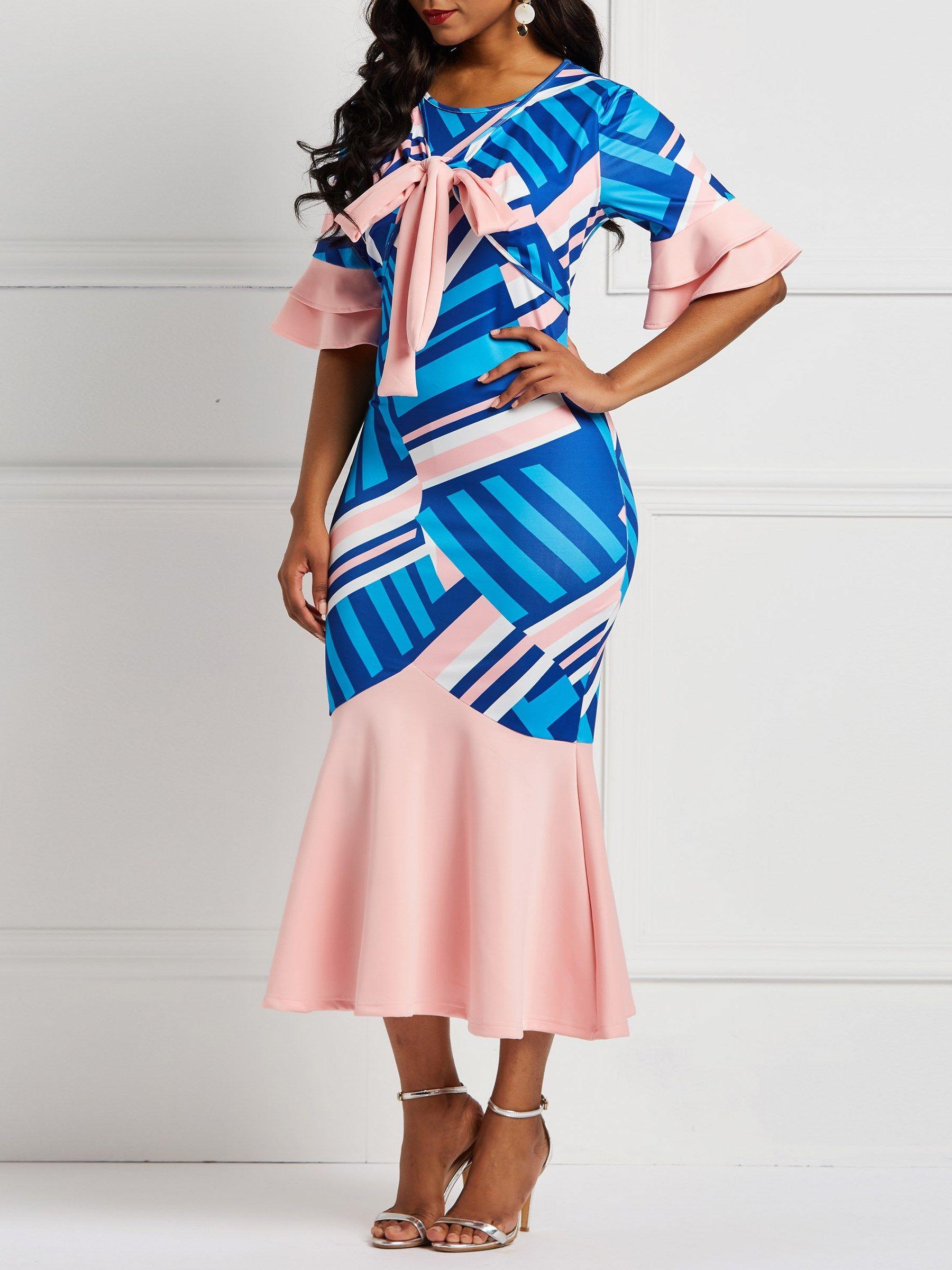 413b2a7af Ericdress Bowknot Falbala Sleeve Geometric Print Dresses #ericdressreviews,# ericdress fashion reviews,#ericdress beauty  reviews,#womenfashion,#newarrivals,