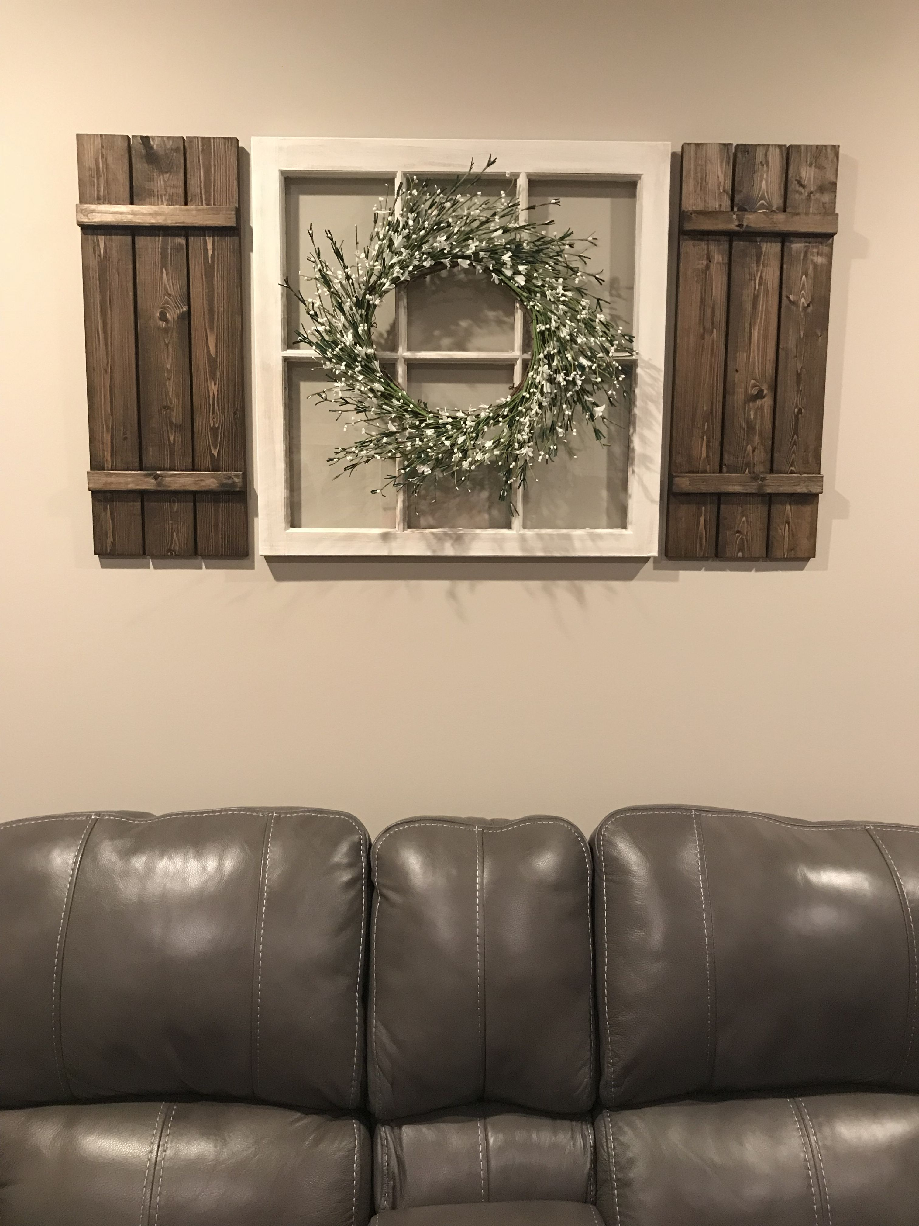 DIY window pane and shutters home farmhouse decor! | Farmhouse ...