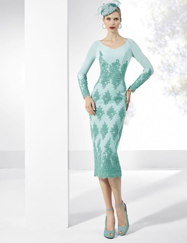 vestidos de fiesta en crep turquesa con falda de tubo. | special