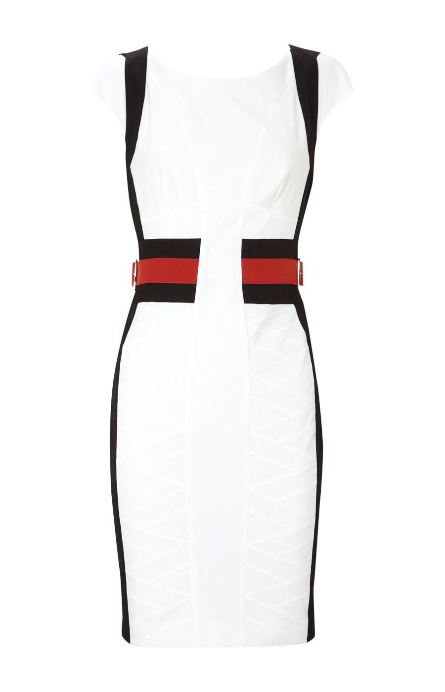 Karen Millen Sporty Colourblock Dress White and Black [#KMM094] - $80.71 :