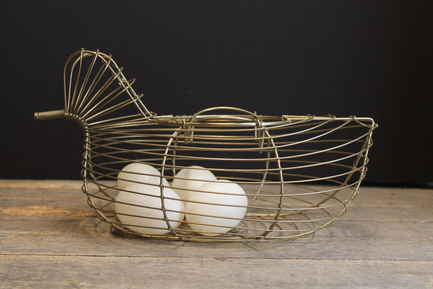 Vintage Metal Chicken Wire Egg Basket // Country Farm House ...