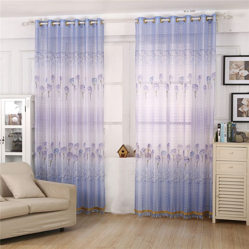 Pretty Blue Rose Pattern Bedroom Living Room Window Curtain Finished ...