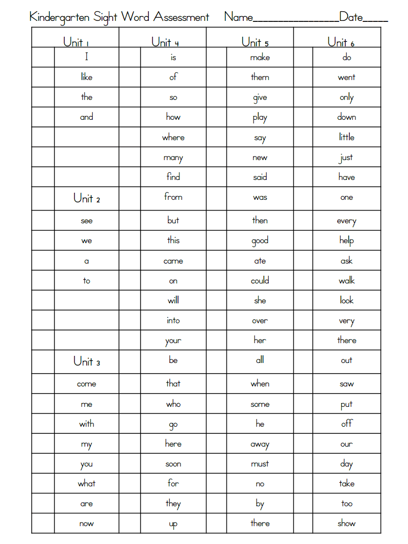 K Sight Word Assessment Complete List.pdf | classroom worksheets ...