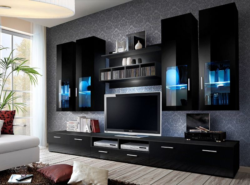 Wall Units Dimensions Height 190 Cm Width 300 Cm Depth 45 Cm Tv Room Design Modern Tv Room Living Room Wall Units