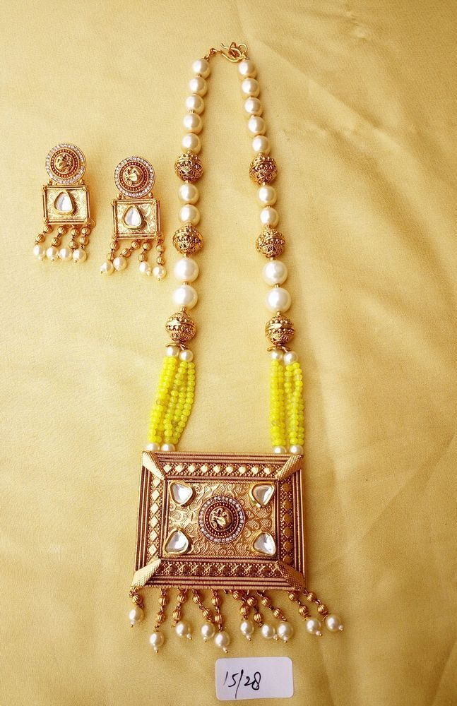 Indian polki gold pearl yellow beads ethnic square pendant necklace indian polki gold pearl yellow beads ethnic square pendant necklace jewelry set vardhamangoodwill chain aloadofball Choice Image