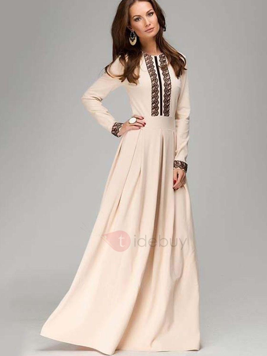 Elegant lace long sleeve womenus maxi dress gaun pinterest
